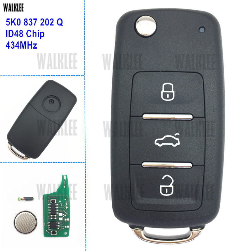 WALKLEE 3BT Funkschlüssel 5K0837202Q für VW/VOLKSWAGEN 5K0 837 202 Q 434 MHz Käfer Caddy Eos Golf Tiguan Touran Jetta Polo Scirocco