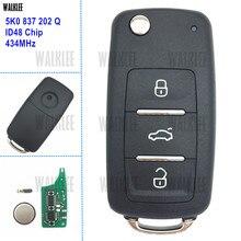 WALKLEE 3BT Remote Key 5K0837202Q für VW/VOLKSWAGEN 5K 0 837 202 Q 434MHz Käfer Caddy Eos Golf tiguan Touran Jetta Polo Scirocco