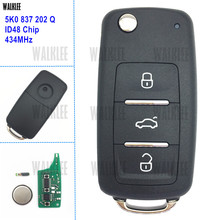 WALKLEE 3BT Remote Key 5K0837202Q for VW/VOLKSWAGEN 5K0 837 202 Q 434MHz Beetle Caddy Eos Golf Tiguan Touran Jetta Polo Scirocco