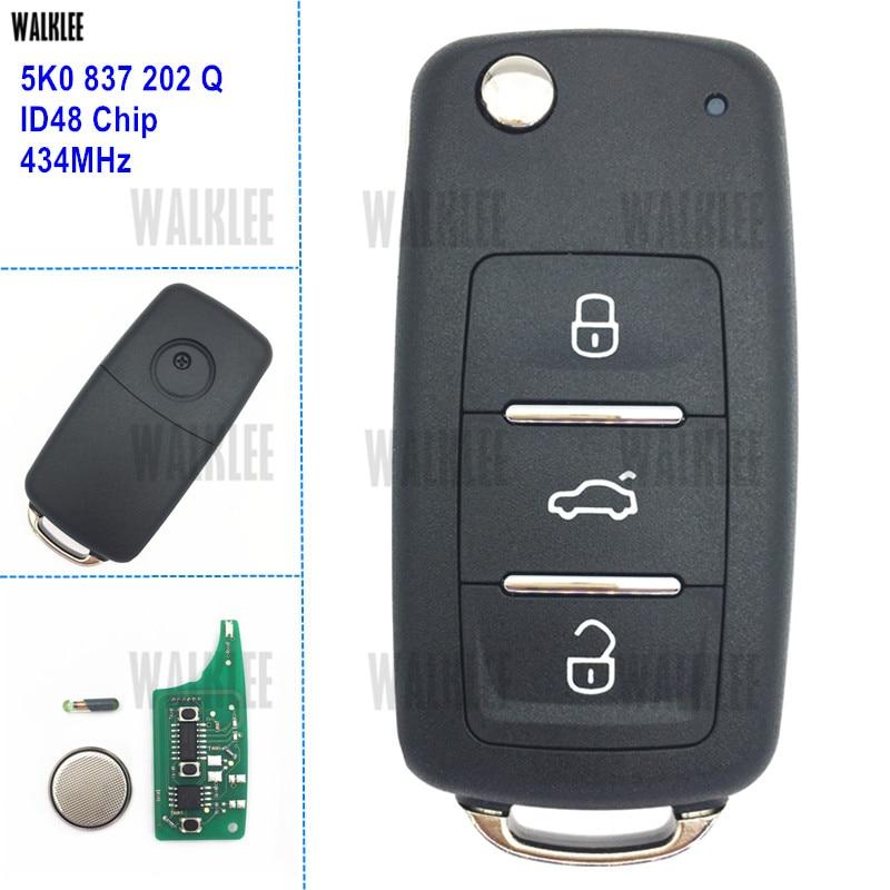 WALKLEE 3BT Remote Key 5K0837202Q for VW/VOLKSWAGEN 5K0 837 202 Q 434MHz Beetle Caddy Eos Golf Tiguan Touran Jetta Polo Scirocco