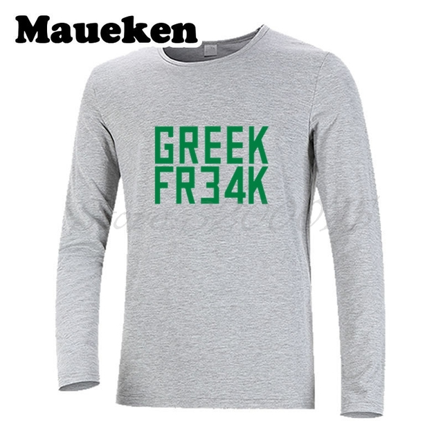 dd55dce6544 Greece The Alphabet Giannis Antetokounmpo 34 Greek Freak Fr34k Long Sleeve  Men T-Shirt Milwaukee Clothes T Shirt Men s W17101315