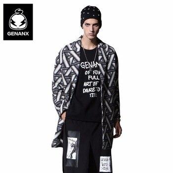 estilo lana Plaid marca abrigo imprimir Genanx medio Loose hombre zq8xvgwC