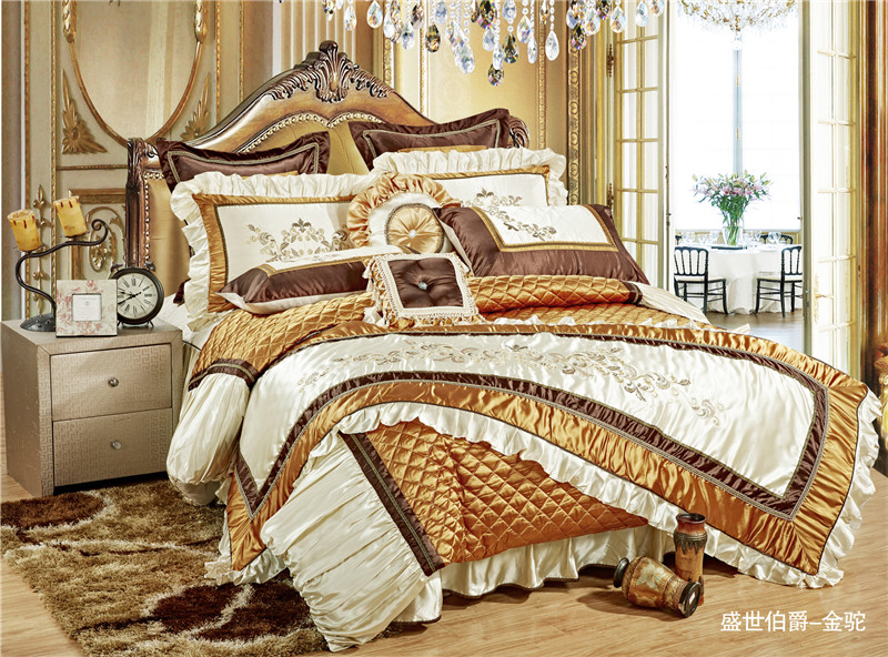 11Pc Luxury Silk Cotton Royal Bedding set Golden Queen/King Size For Wedding Bed
