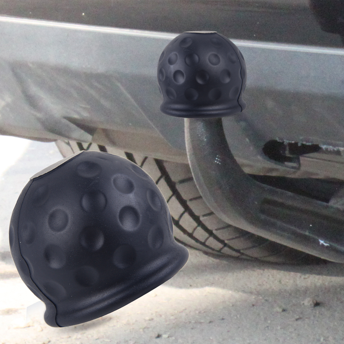 CITALL Car Rubber Black 50mm Tow Ball Towball Protector Cover Cap Hitch Caravan Trailer