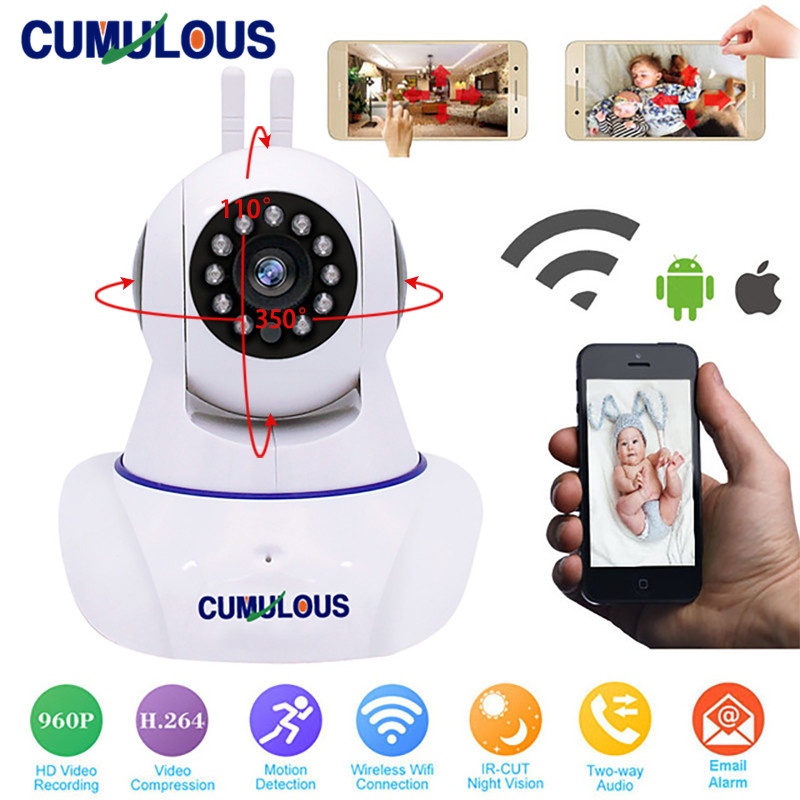 CUMULOUS WiFi IP Camera Baby Monitor Wireless HD 960P Home Security Camera Wi-Fi P2P Two-Way Audio IR Night Vision Network CCTV robot camera wifi 960p 1 3mp hd wireless ip camera ptz two way audio p2p indoor night vision wi fi network baby monitor security