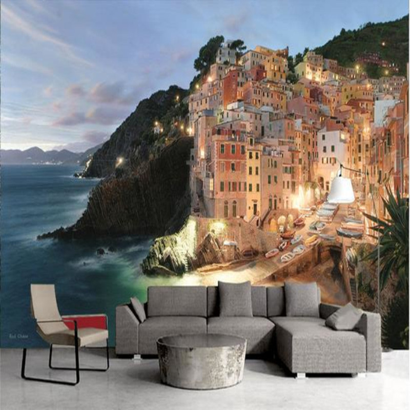 Custom 3D Photo Wallpaper Murals Modern Seaside Night Landscape TV Background Walls Scenery Wall Papers Living Room Home decor custom mural 3d room wallpaper landscape sports car scenery wall papers home decor 3d wall murals wallpaper for walls 3 d