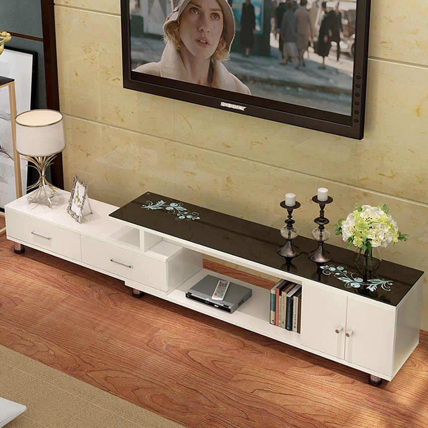 meuble tv reglable en longueur meuble de salon panneau en bois de style moderne assemblage de meuble tv