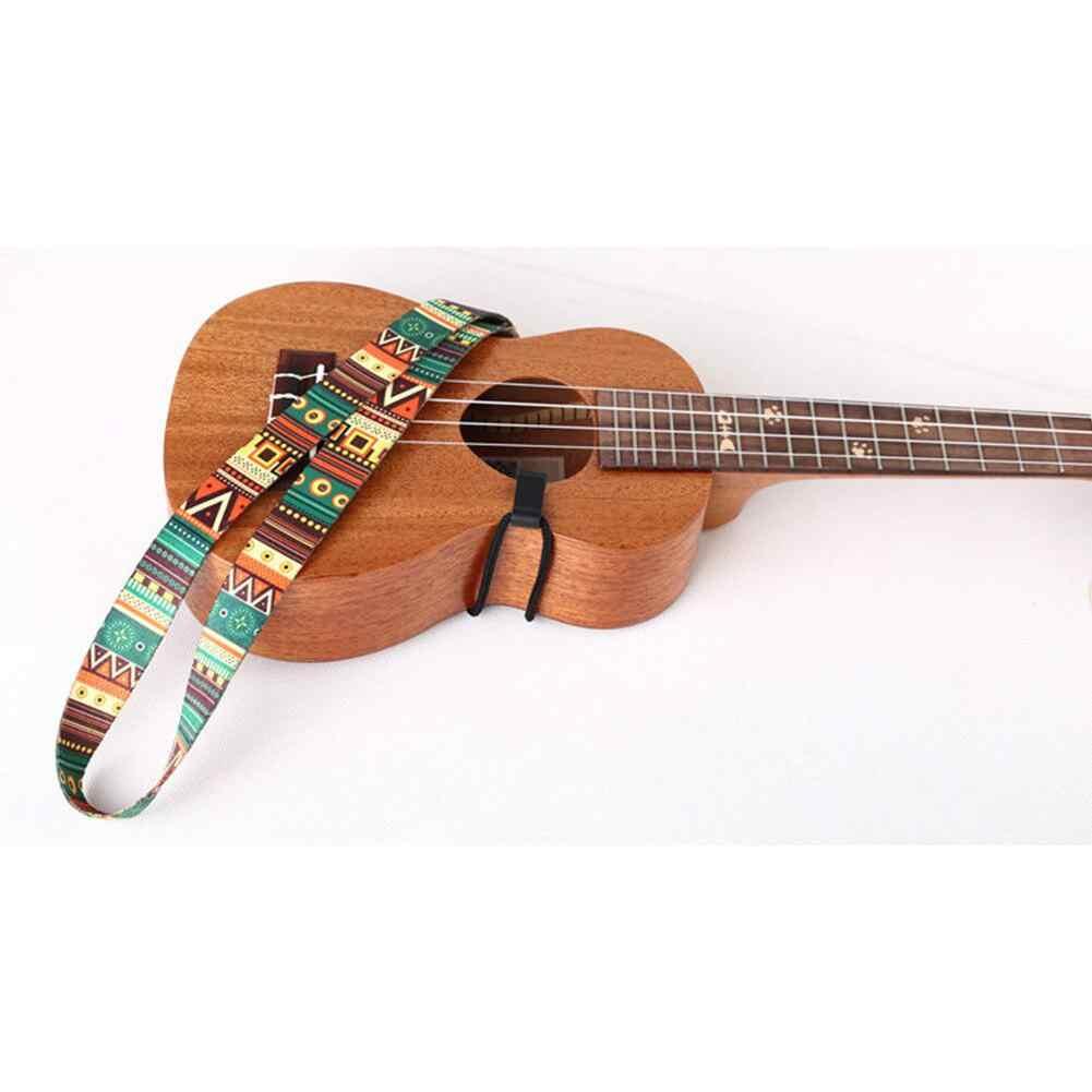Ethnic Style Ukulele Strap Durable Adjustable Printing Ribbon Clip-on Hawaii Guitar Belt Sling Instrument Guitar Accessories
