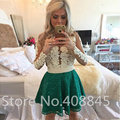 Elegant White Appliques Green Lace Skirt Short Prom Dresses 2016 Pearl Beading Sexy See Through Long Sleeve Evening Dress Cheap
