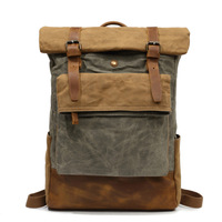 SOAEON Retro Oil Wax Canvas Bag Travel Shoulder Backpack Leisure Outdoor Mountain Climbing Students Colour Backpack