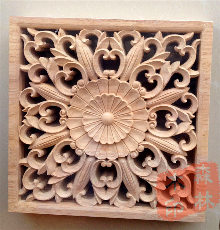Wood dongyang wood carving wooden door furniture bed applique smd wood shavings home decoration 25cm squares-in Figurines u0026 Miniatures from Home u0026 Garden on ... & Wood dongyang wood carving wooden door furniture bed applique smd ...