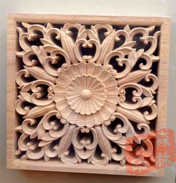 Wood Dongyang Wood Carving Wooden Door Furniture Bed Applique Smd Wood  Shavings Home Decoration 25cm Squares
