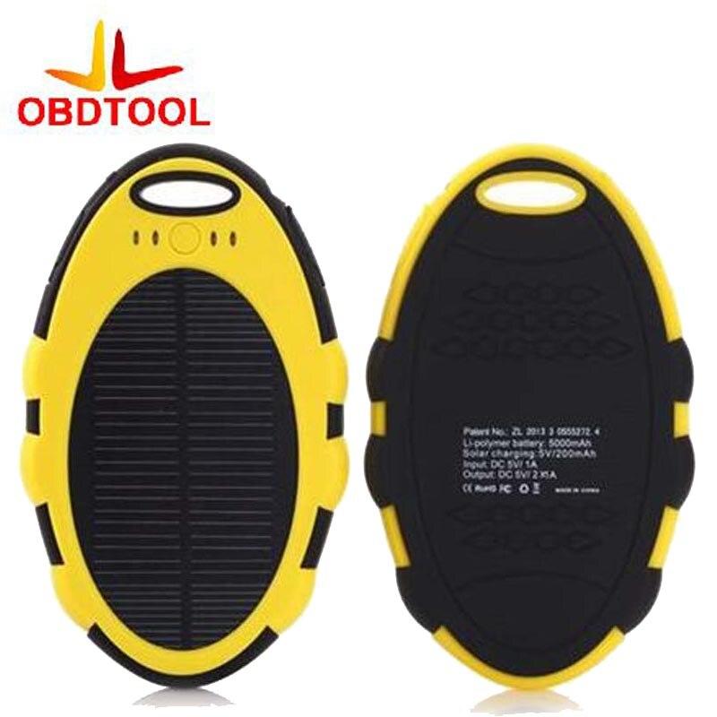 New 5000MAH Waterproof Solar Power Bank Portable Charger External Battery 1Pcs