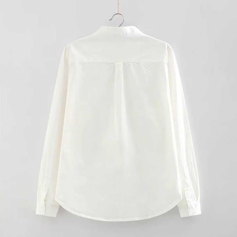 Hanyiren אוקספורד חולצה משרד נשים כפתור חולצה ארוך שרוול להנמיך צווארון מוצק גבירותיי למעלה לבן כחול חולצה 2019 סתיו חדש