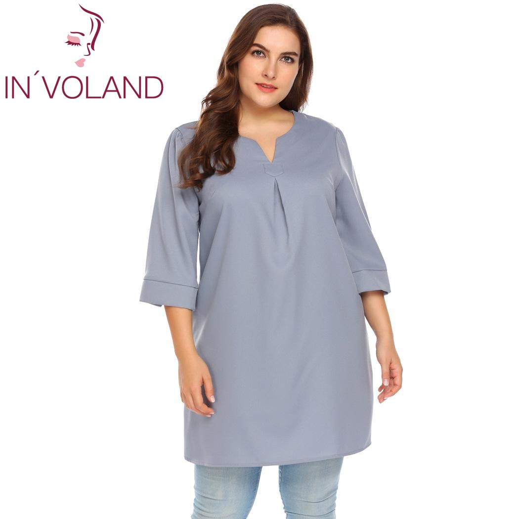 IN'VOLAND Big Size XL-5XL Women T-Shirt Tops Autumn Casual Notch Neck 3/4 Sleeve Solid Loose Large Pullover Tshirt Plus Size