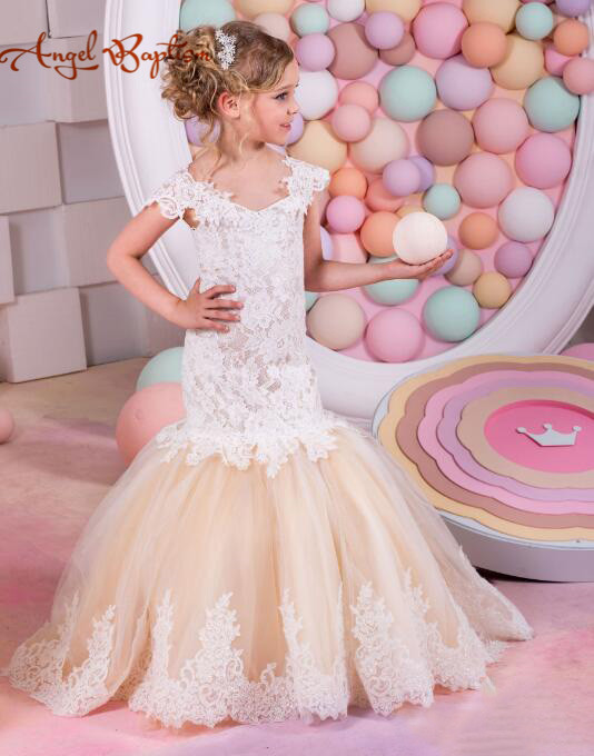 Vintage Cap Sleeves Lace Tulle V-neck Flower Girl Dresses Mermaid Child champagne Beautiful communion gown for Country Wedding smar super hd 3mp 4mp ahd security camera ahdh outdoor waterproof cctv bullet camera home video surveillance 36 ir leds camera