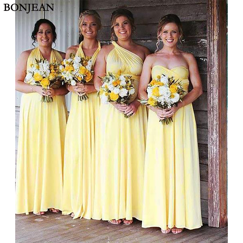 2019 New   Bridesmaid     Dress   Sleeveless Pleat Chiffion Mismatched Formal   Dress   Long   Bridesmaid     Dresses   Plus Size Custom Made