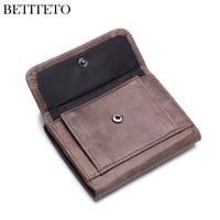 Betiteto Brand Genuine Leather Coin Purse Men Wallet Male Small Mini Walet Portomonee Vallet Partmone Cuzdan Kashelek Portmann