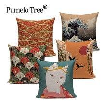 Funda de cojín decorativa Vintage con estampado japonés, funda de almohada de lino, Fuji Kimono para niña, almohada decorativa para el hogar, cojín para sofá