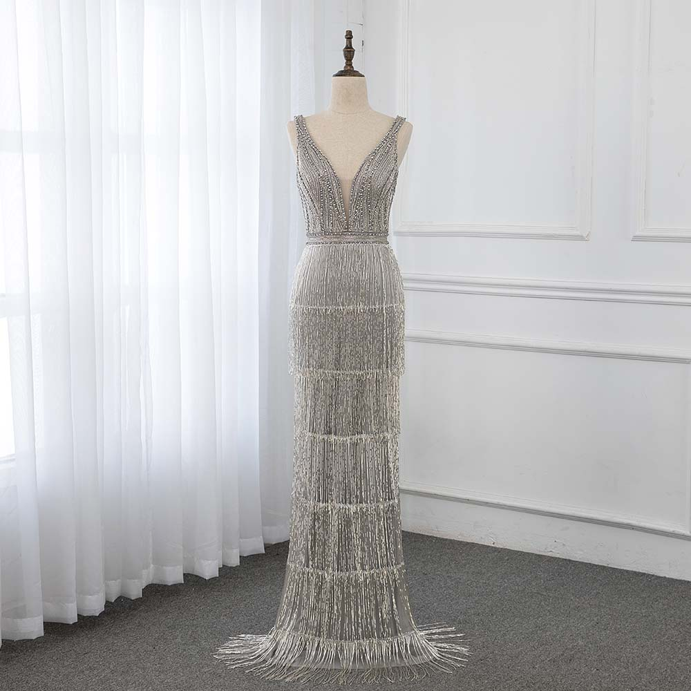 Luxury Sliver Rhinestones   Evening     Dresses   Long Deep V-neck Mermaid Formal Gown Sleeveless YQLNNE