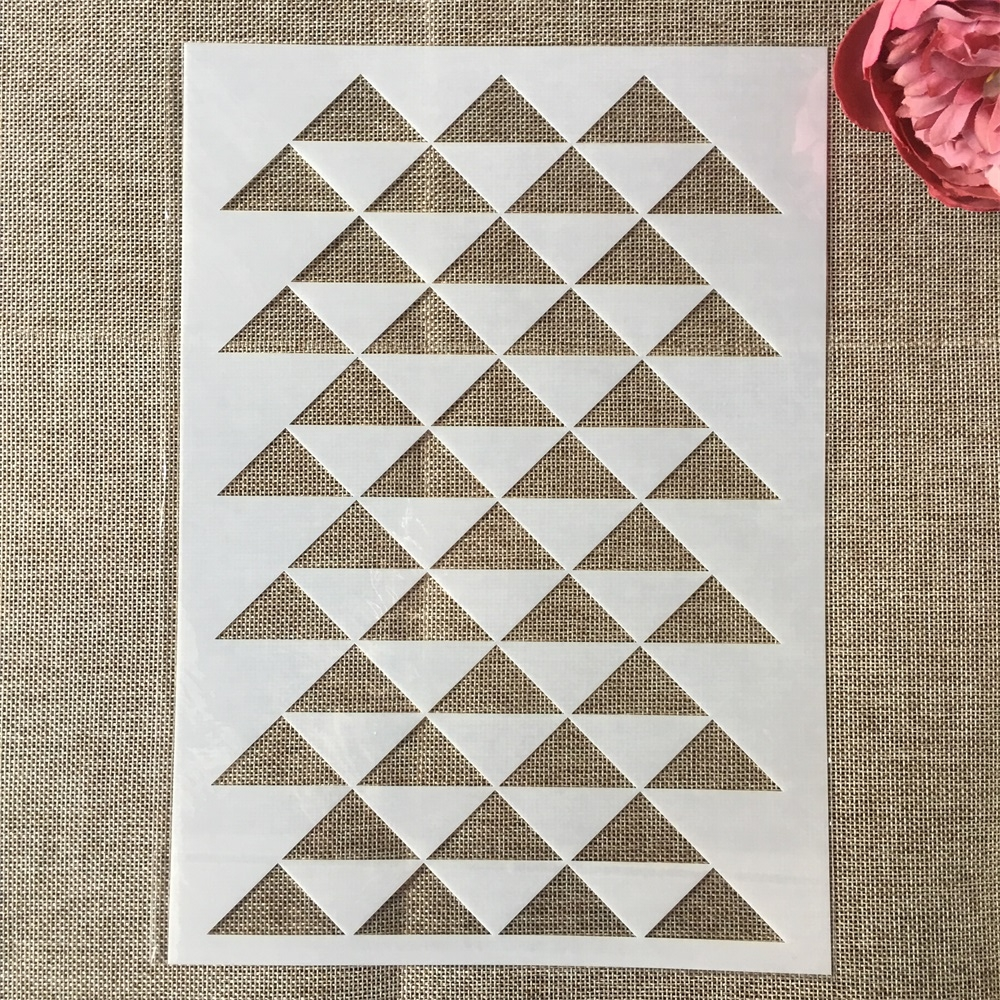 29*21cm Triangle Geometry Texture DIY Layering Stencils Painting Scrapbook Coloring Embossing Album Decorative Card Template