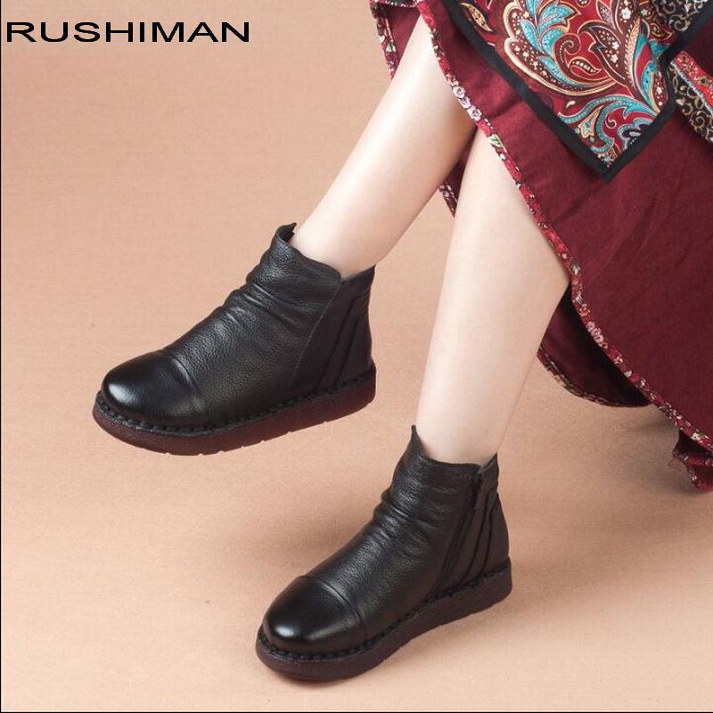 2018 winter Hot Sale Shoe Snow Boots Genuine Leather Ankle Shoes Mom Casual Shoes flat Cow Leather Handmade Women Boots Lady yaerni new 2017 women winter ankle boots handmade velvet flat with boots shoe comfortable casual shoes women snow boots