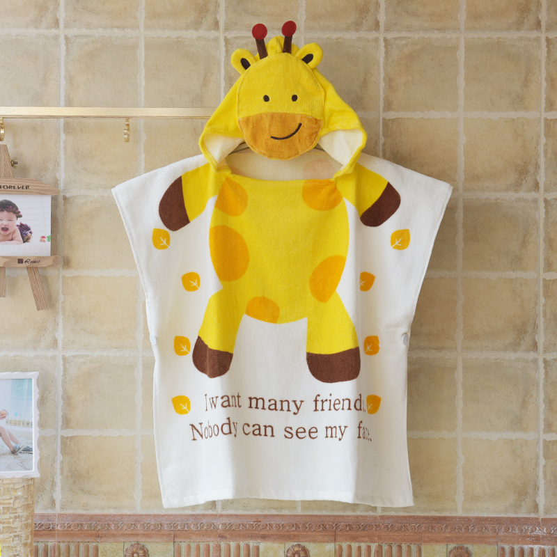 Cartoon children baby bath towel cotton towel material hooded cloak cloak beach towel sets a robe