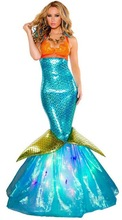 Women Halloween Sequin Mermaid Costume Adult Fantasia Ariel Princess Cosplay Sexy Deluxe Dress Cosplay Mermaid Tail Skirt