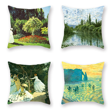 4Pcs French Famous Pillowcase Classical Monetena Estuary Bed Cushion Decorative Cover Four Season