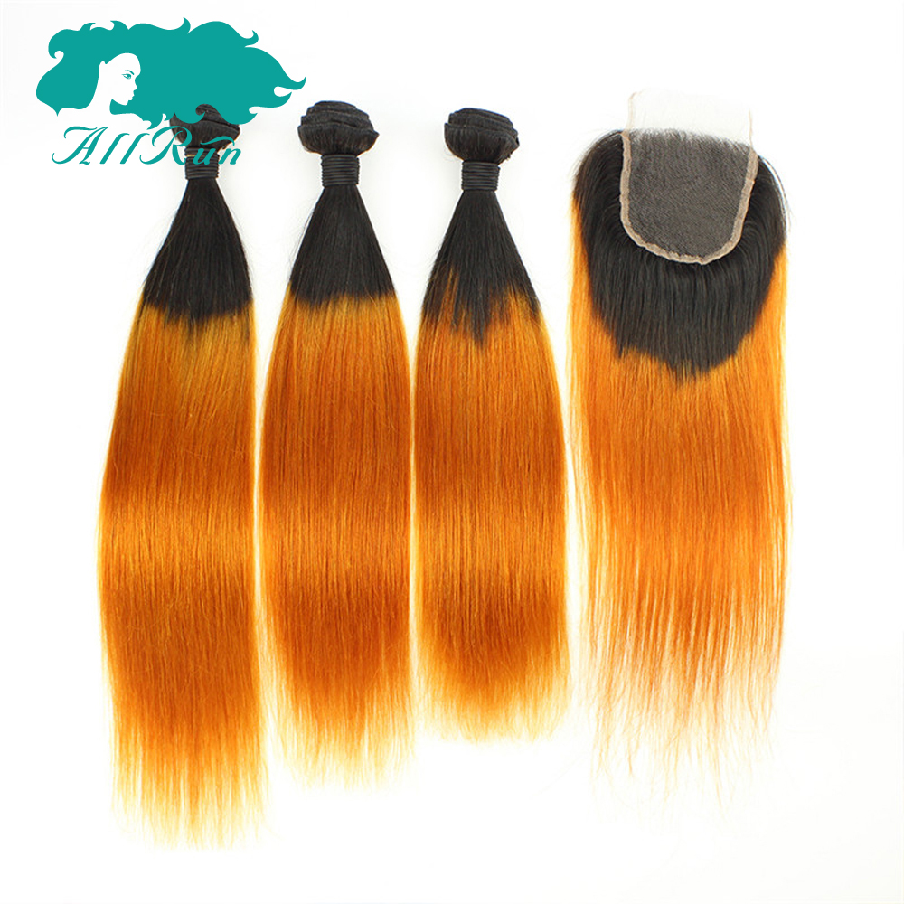 Allrun Pre-Colored Ombre T1B-Orange Yellow Malaysian Hair 3 Bundles With Lace Closure 100% Non Remy Human Hair With Closure