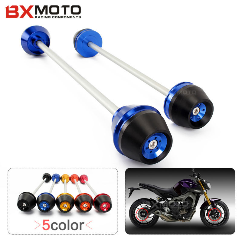 New Motorcycle accessories CNC Aluminum motorbike Blue Front & Rear Axle Fork Slider Falling Protection For Yamaha MT-09 14-15 motorcycle accessories cnc aluminum front