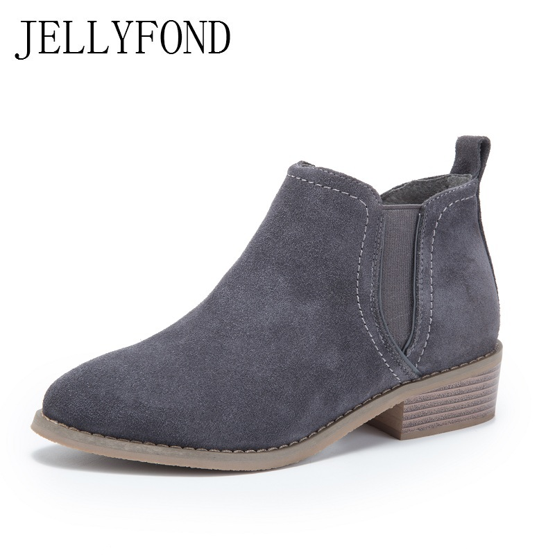 2017 Autumn Cow Suede Pointed Toe Chelsea Boots Women Original Designer Handmade Low Heels Casual Ankle Boots Shoes Woman
