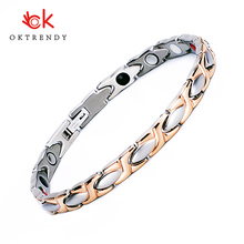 Oktrendy magnetic titanium bracelet rose gold ladies bracelets health wristband with quantum energy