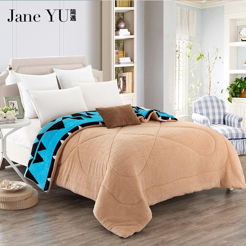 janeyu flannel warm comforter quilt thicken warm duvets winter comforter patchwork quilted. Black Bedroom Furniture Sets. Home Design Ideas