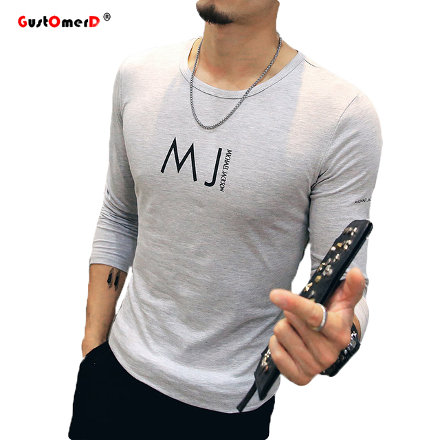 GustOmerD 2017 Nueva Marca de Moda Sólido Ocasional de Calidad Superior de Los Hombres Camisa de Manga Larga Slim Fit Impresión de la Letra Camisa De Compresión M-5XL