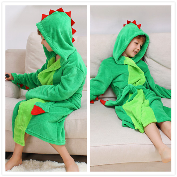 Girls Boys' Plush Hooded Bathrobe - Dinosaur Fleece Robe 5