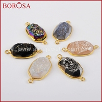 BOROSA Fashion Gold Bezel Natural Geode Titanium Rainbow Druzy Quartz Stone Connector Double Bails For Jewelry