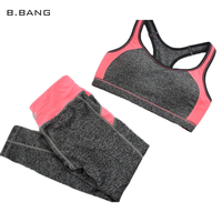 B BANG New Women S Sports Sets Patchwork Sportwear Suits Sport Bra Running Gym Fitness Top