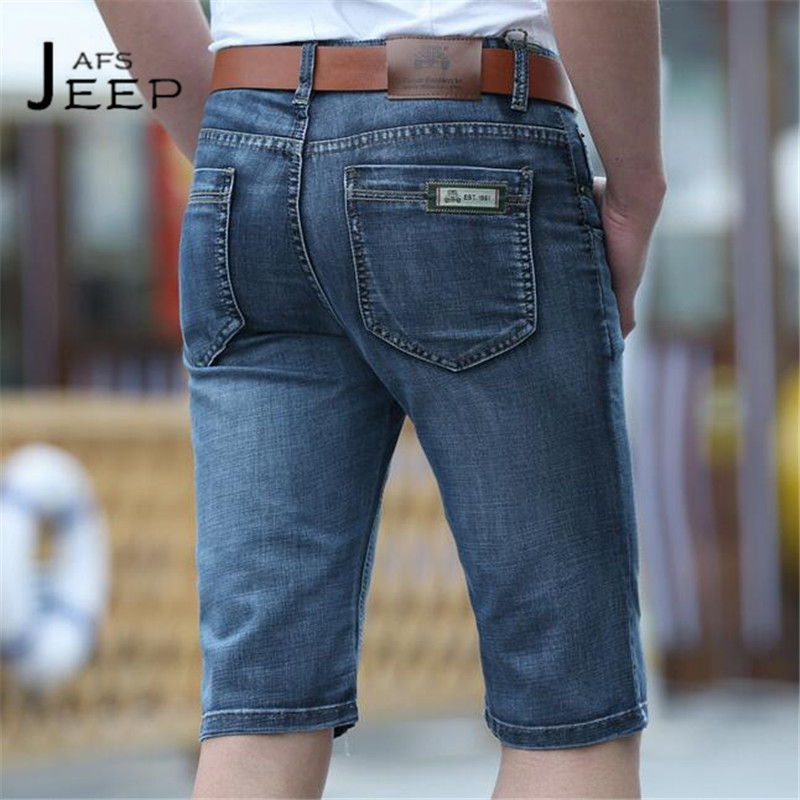 JI PU 2017 Summer Fashion Mans Denim Short trousers,Sky Blue Nature cotton Back pocket,straight leisure water washing jeans