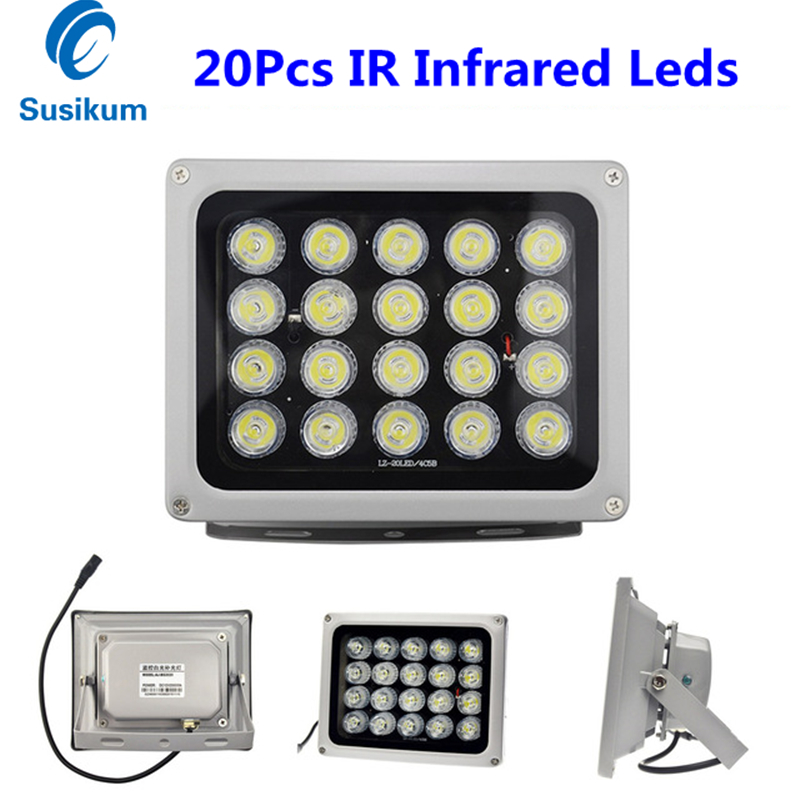 CCTV Camera Fill Light 20Pcs IR Infrared Illuminator night vision 850nm IP65 Metal Outdoor CCTV Leds For security Camera azishn cctv 12pcs array leds ir illuminator infrared outdoor waterproof night vision cctv fill light for cctv security camera