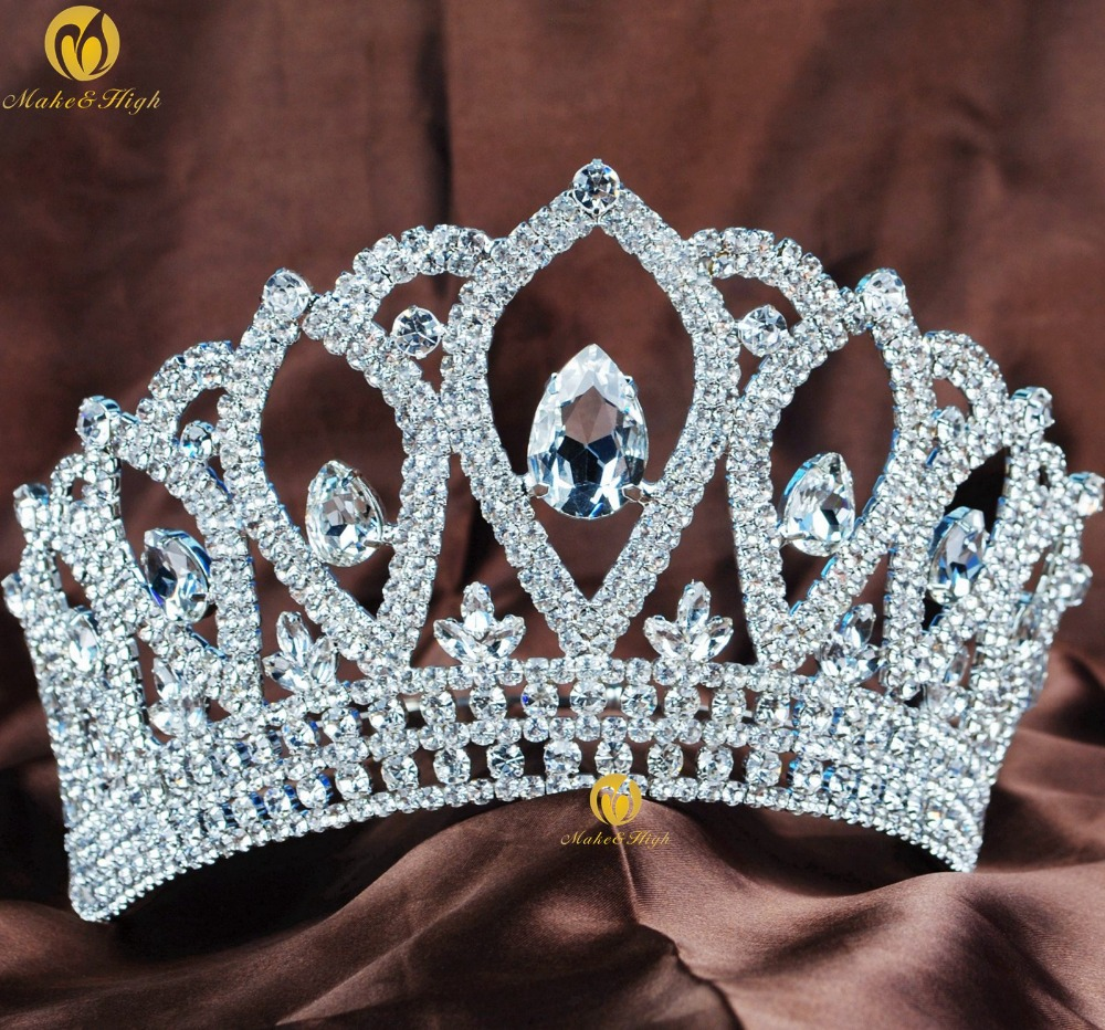 Queen 4.5 Pageant Hair Tiara Brides Crown Austrian Rhinestones Bridal Wedding Headband Party Prom Beauty Contest Costumes peacock star bridal wedding party quality sparkling pageant beauty contest black crystal tall tiara ct1389