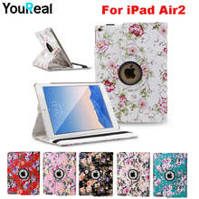Pastoral floral Floral Sample 360 Rotating PU Leather-based Cowl Case For Funda iPad Air 2 Pill Coque Cowl Capa Case for iPad 6