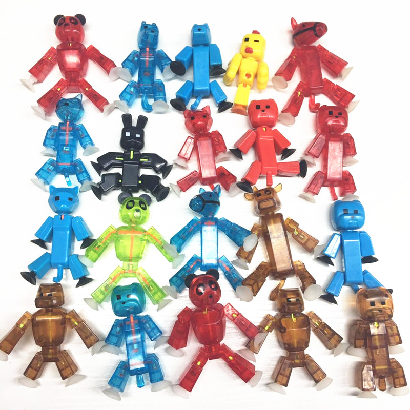 10pcs or 20pcs Random Color StikBot Pet Screen Animation Toys Shed Dolls with Sucker DIY Creat Animation Film Robot Toys