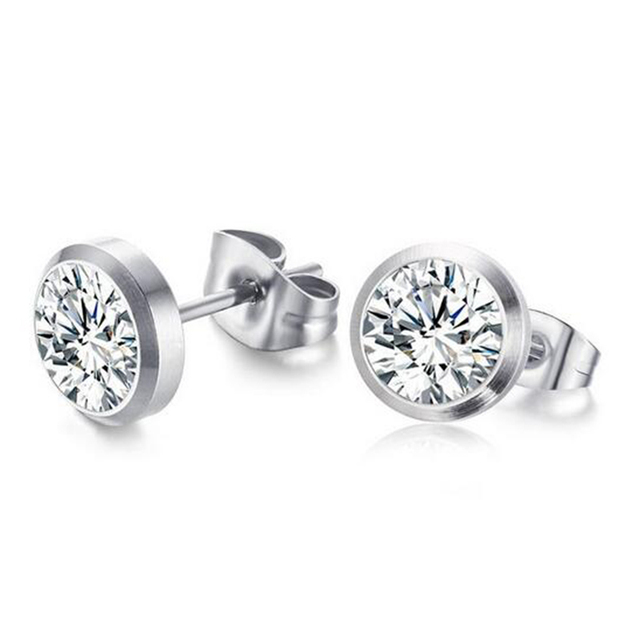 Female Silver Color Stud Earring 8mm Round Aaa Cubic Zirconia Quality Stainless Steel Jewelry