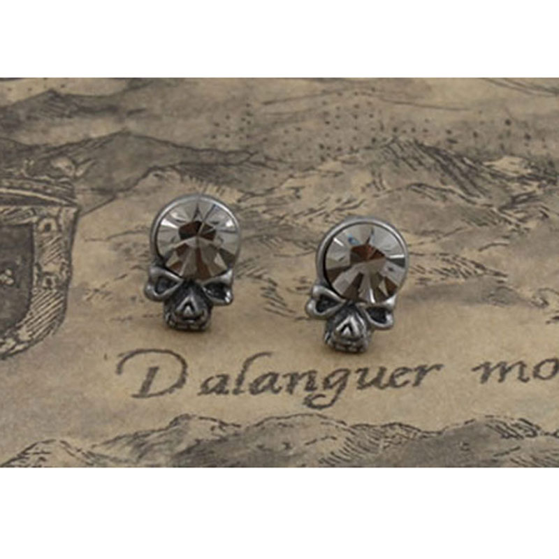 Fashion Jewelry Pewter Stud Earring Goth Punk Skull Crystal Earrings for Men Boys Free Shipping