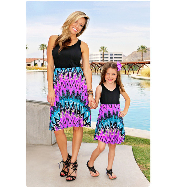 39a8d882a9 Mommy and Me Dresses Mama Mum Mom and Daughter Dresses Summer Flower Beach  Bohemia Maxi Long Dress Baby and Mother Clothes