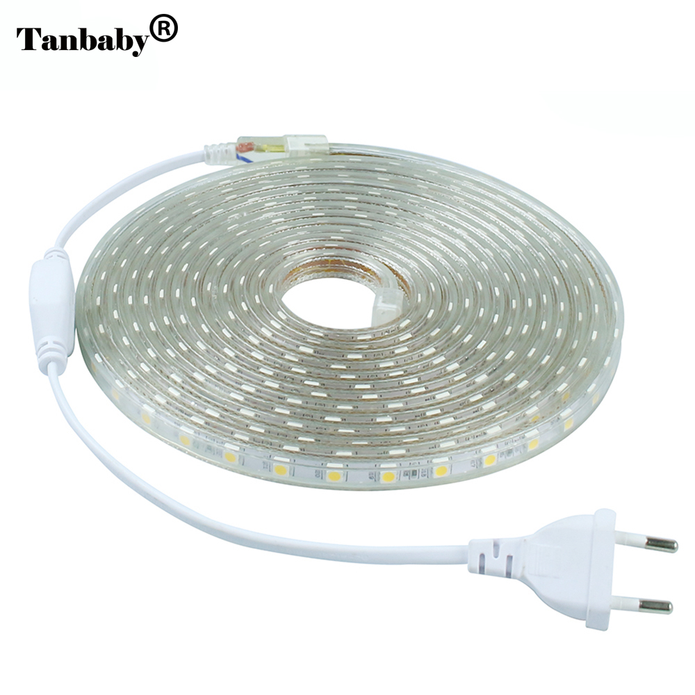 Tanbaby 220V LED Strip light 5050 SMD 60 LED/M IP67 Waterproof Outdoor Indoor Decoration Lighting Flexible Tape With EU Plug 20m waterproof rgb 5050 smd 60 leds m led tape lighting flexible tape rope strip light xmas party garden outdoor decor 220v
