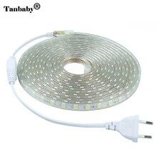 Tanbaby 220 v tira conduzida luz 5050 smd 60 led/m ip67 à prova d' água ao ar livre indoor decoração iluminação fita flexível com o plug ue