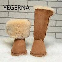2016 Australia Fashion Women Genuine Sheepskin Leather Snow Boots 100 Natural Fur Snow Boots Warm