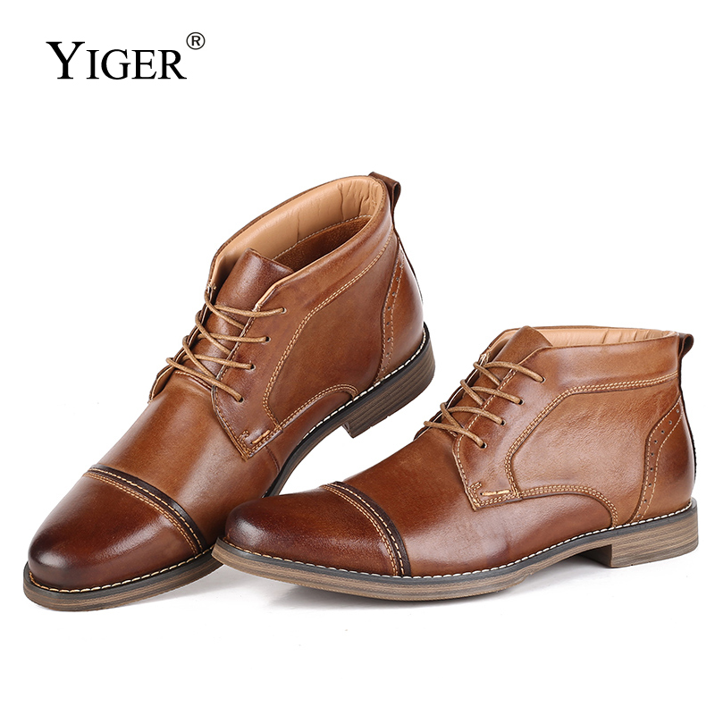 YIGER New Men Ankle Boots Genuine Leather Man Martins Boots Male Lace-up Winter Casual Shoes Big Size High-top Men's Shoes 0251